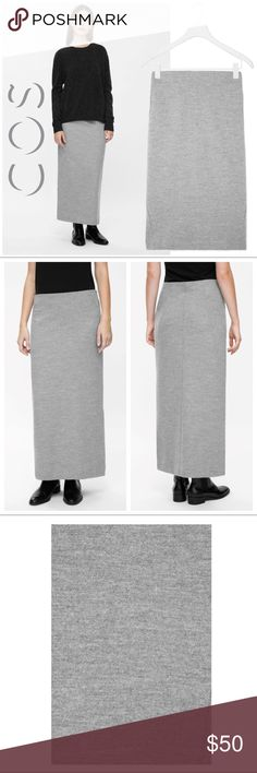 COS Long Wool Slip-on Maxi Skirt COS Long Wool Slip-on Skirt in Grey. Sz XS. This long skirt is made from a wool-cotton blend with a comfortable stretch. Designed to slip-on, it has an elasticated inside waistband and a flute shape, flaring just before the hemline. 60% Wool/40% Cotton. Excellent pre-loved condition with no apparent signs of wear of flaws. Small mark on designer label (pictured). Reasonable offers accepted. Measurements up shortly. COS Skirts Maxi