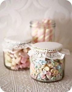 Favours - candy in mini mason jars Wedding Favors Cheap, Wedding Favours, Wedding Sweets, Wedding Ideas, Sweet Jars, Mini Mason Jars, Party Treats, Candy Party, Good Housekeeping