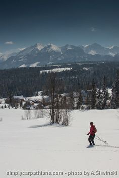 Backcountry skiing with a beautiful view at the Tatra Mountains.  www.simplycarpathians.com
