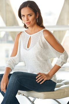 Reversible sequin keyhole sweater #SpringFashion #BostonProper