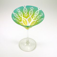 Painted Martini Glass  Vesuvian Flower  Green and by woodeyeglass, $25.00