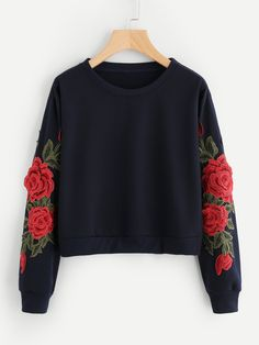 Rose Embroidered Applique Sleeve SweatshirtFor Women-romwe