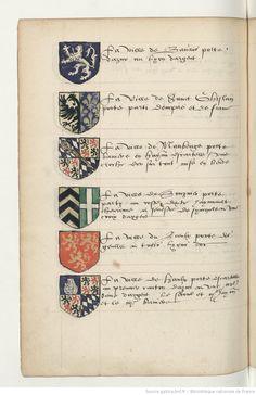 Grand armorial colorié, dont les blasons sont rangés sous les rubriques suivantes. | Gallica