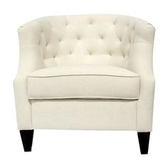 Bring classic elegance to your living room or den with this wood accent chair, showcasing a tufted back and tapered feet. Product: ChairConstruction Material: Wood and fabricColor: CreamFeatures: Tufted backDimensions: H x W x D White Fabric Accent Chair, Decor, Elegant Home Fashions, Home, Furnishings, Furniture, Home Furniture, Bedroom Decor, Accent Chairs