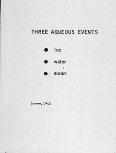 George Brecht, Three Aqueous Events, 1961