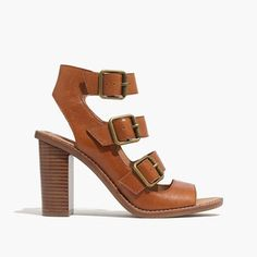 "This soft leather buckled sandal has a bit of an LA-in-the-'70s vibe. The high stacked heel is amazingly walkable when combined with our signature padded footbed. Please note: When you select your size, ""H"" equals a half size.  <ul><li>Leather upper and lining.</li><li>3 1/2"" heel.</li><li>Man-made sole.</li><li>Import.</li></ul>"