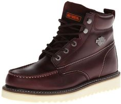 $94, Burgundy Leather Boots: Harley-Davidson Beau Motorcycle Boot. Sold by Amazon.com. Click for more info: https://lookastic.com/men/shop_items/207639/redirect