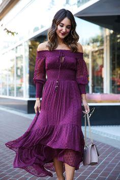 Purple Maxi Dress   Off the Shoulder Peasant Dress