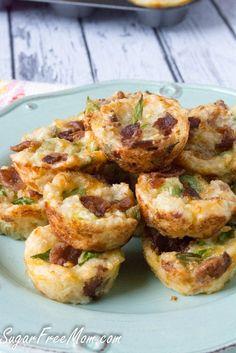 Cheddar Cauliflower Bacon Bites at www.sugarfreemom.com
