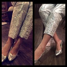 "189 Likes, 15 Comments - Ansab Jahangir (@ansabjahangirstudio) on Instagram: ""A classic chic statement #metallic #silver #Swarovski embellished pant. #luxe #luxurypret…"""