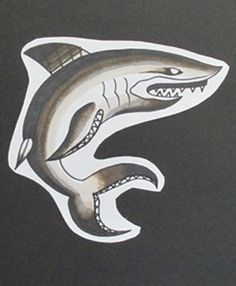 Traditional Black and Gray Tattoo Flash by Jermaine Taylor - Jermaine Taylor Tattoos - Shark Tattoo Flash © www.jermainetaylortattoos.com