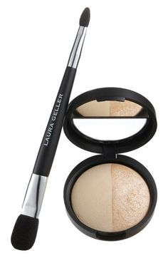 Laura Geller Beauty Baked Split Highlighter & Double-Ended Face & Eye Applicator