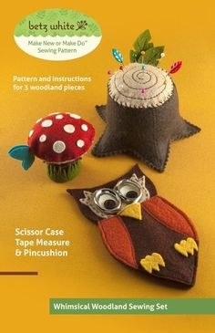 The Woodland Sewing Set PDF Pattern makes a playful addition to your sewing accessories.This original Betz White Make New or Make Do™ sewing pattern includes instructions to make a tree stump pincushion, owl scissor case and a whimsical toadstool that conceals a retractable tape measure