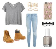 """""""At School"""" by kittykitkat132 ❤ liked on Polyvore featuring Monki, 7 For All Mankind, Casetify, Forever 21, Timberland and Essie"""