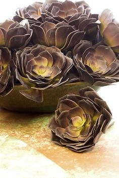 DIY Paper Succulents. LOVE making paper flowers, I must give this a try!