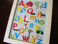 Alphabet Print Down on the Farm Baby Boy 8 x 10. $17.00, via Etsy.