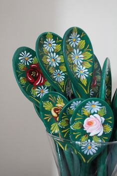 Roses & Castles - handpainted wooden spoons in the traditional narrowboat/barge painting Roses and Castles style folk art. Castle Painting, Boat Painting, Painting On Wood, Painted Spoons, Wooden Spoons, Canal Boat Art, Folk Art Flowers, Spoon Art, Scandinavian Folk Art