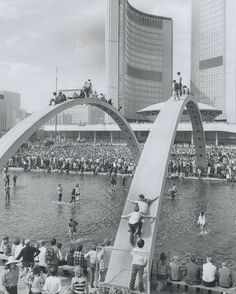 Nathan Phillip's Square and New City Hall - 1970 Lighthouse concert Toronto Star, Downtown Toronto, Toronto Canada, Toronto City, Canada Eh, Pinball, Canadian Things, North York, Canadian History