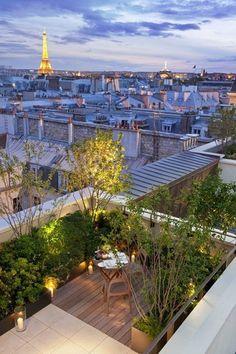 Paris, terrasse sur le toit. Paris, roof terrace.