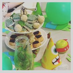 More party fare for Mr 4's party - pineapple bliss balls coconut ice (he requested green ) and jam drop cookies all out of @drlibby and @chefcynthialouise1 Sweet Food Story book.  Not shown - fresh fruits guacamole mini spelt pizzas minted water and vege sticks  by littleandrawsome