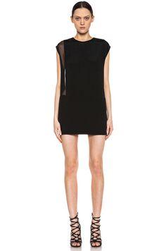 IRO | Sheer Panel Viscose Silk Dress in Black