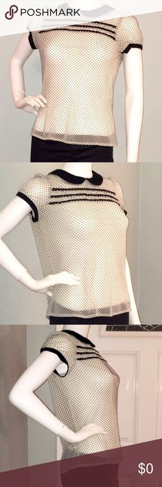 COMING SOON! Zara sheer white top w/black  dots Zara sheer white top with black polka dots and cap-sleeves. Peter Pan collar, with button closure in back, gives this sheer top and innocent look. Zara Tops Blouses