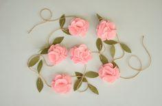 Pink Rose Garland Felt Flower Garland Wedding Ceremony