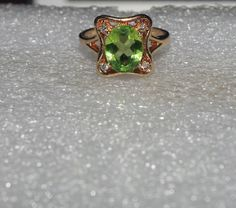 14k Diamond Peridot Ring Engagement by KimberlysTreasure on Etsy, $530.00 Peridot Engagement Rings, Ring Engagement, Diamond, Unique Jewelry, Handmade Gifts, Accessories, Etsy, Vintage, Estate Engagement Ring