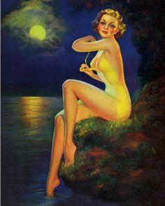 Rare Nude Art Deco Vintage Pin-Up Print Laurette Patten A Moonlight Nymph Pin Up Vintage, Vintage Beauty, Vintage Art, Vintage Style, Olivia De Berardinis, Pin Up Illustration, Pin Up Art, Nymph, Pin Up Girls