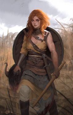 Shield Maiden, Banjiu E'vik on ArtStation at https://www.artstation.com/artwork/PNdzr?utm_campaign=digest&utm_medium=email&utm_source=email_digest_mailer