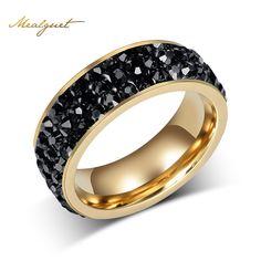 Meaeguet fashion women crystal anillos al por mayor anillos de boda de acero inoxidable de color oro para la joyería partido de las mujeres