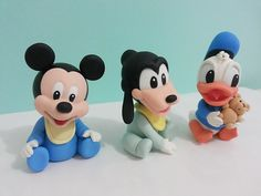 Baby Mickey Cake, Mickey Mouse Cupcakes, Mickey Cakes, Mickey Birthday, Minnie Mouse, Fondant Dog, Fondant Animals, Polymer Clay Disney, Polymer Clay Crafts