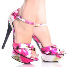 Pink-Satin Floral Peep Toe Mary Jane Womens High Heel Platform Shoes