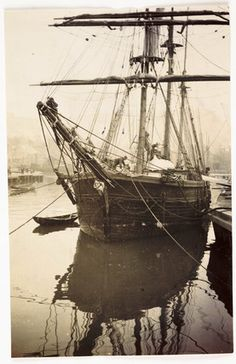 Moored sailing ship, c 1905. Frank Meadow Sutcliffe