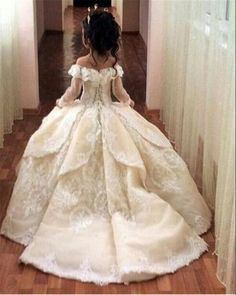 Girly Shop's Ivory & White Long Trail Ball Gown