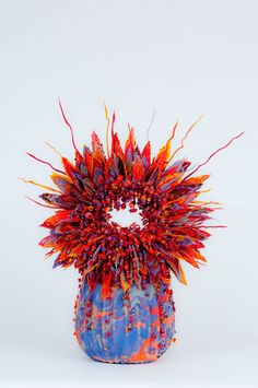 Laura Donefer Laura's Grande Bonnechance Basket, 2011; blown and torch worked glass, coral, turquoise and magic