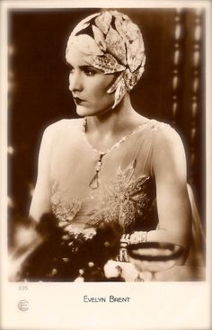 Evelyn Brent, Hollywood Silent Film Actress Stunning Chic Glamour Art Deco Flapper Beauty with Headdress Original Rare 1920s Photo Postcard