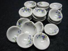 Blue Mini Bowls Dollhouse Miniatures Ceramic Hand Paint   eBay