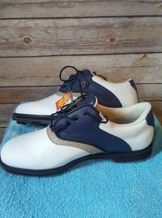 97a4162df7df Lady Fairway Women 039 s Size White Blue Leather Rubber Spike Golf Shoe