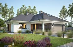 Miriam V - Dobre Domy Flak & Abramowicz Modern Bungalow Exterior, Modern Bungalow House, Bungalow House Plans, House Plans Mansion, Dream House Plans, Modern Family House, Modern House Design, House Construction Plan, House Design Pictures