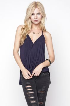 90s Lullaby - Crossover Navy Drape Cami, $9.99 (http://www.90slullaby.com/new-arrivals/crossover-navy-drape-cami/)