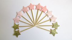 12 Pink & Gold Glitter Stars Cupcake Toppers Girl Birthday Party Baby Shower 1st Birhday Twinkle Twinkle Little Star Pink - Gold Baby Shower