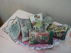 photo-transfer, hand sewn lavender sachets