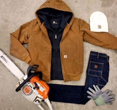 The Joy of Winter / Crafted in Carhartt / Carhartt Sandstone Active Jac, Clarksburg Zip-Front Sweatshirt, Series 1889 Slim Double Front Denim Dungaree, C-Grip Pro Palm Gloves, & Winter White Watch Hat