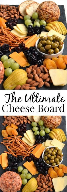 The Ultimate Cheese Board is perfect for entertaining, takes 5 minutes to put together and is filled with your favorite cheeses, nuts, dried fruits, crackers, olives and more! www.nutritionistreviews.com