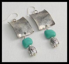 BUDDHA - Handforged Hammered Pewter - Vintage Boho Glass - Pewter Buddha Head Earrings by sandrawebsterjewelry on Etsy
