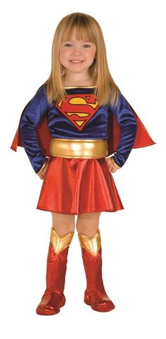 Who doesn't love a cute, little superhero? Costume includes one piece dress with attached shimmering belt, detachable cape and boot tops. You're little one will look absolutely SUPER this Halloween in the Supergirl Toddler 12 month - 2T costume! #yyc #Calgary #costume #toddler #DCComics #CWTV