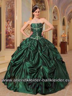 Dunkel Grünes Trägerloses Sissi Kleid Ballkleid Brautkleid Online