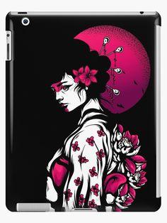 'Geisha Japanese Girl' iPad Case/Skin by SoccaTamam Laptop Cases, Phone Cases, Wall Tapestries, Tapestry, Throw Blankets, Throw Pillows, Lip Designs, Geisha