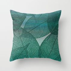 Painterly Green And Blue Leaf Abstract Throw Pillow $28